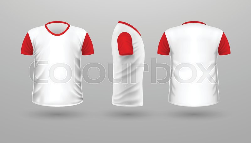 T-shirt with red sleeve template set, front, side, back view. White ...