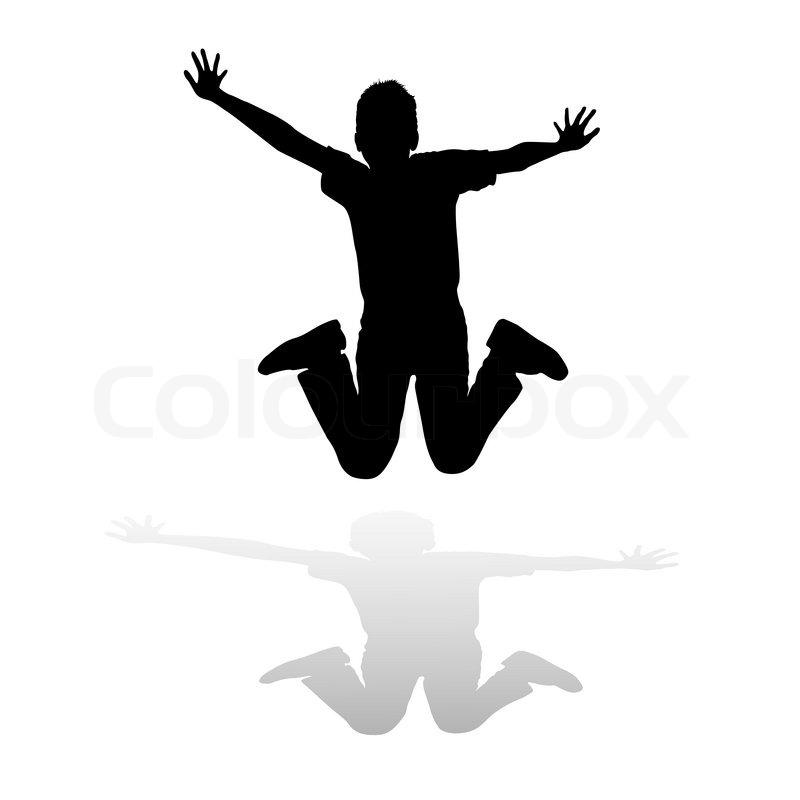 Silhouette Boy Of Jump Stock Vector Colourbox