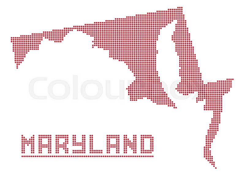 A dot map of Maryland state isolated on a white background Stock