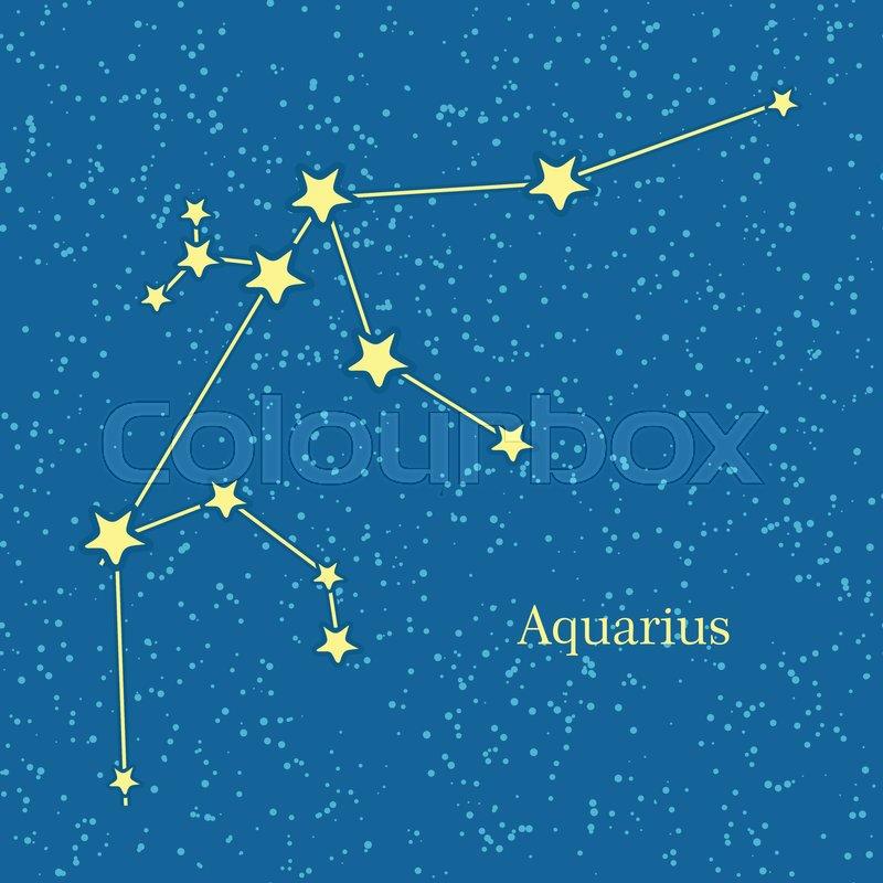 Aquarius Zodiac Symbol On Background Of Cosmic Sky Eleventh