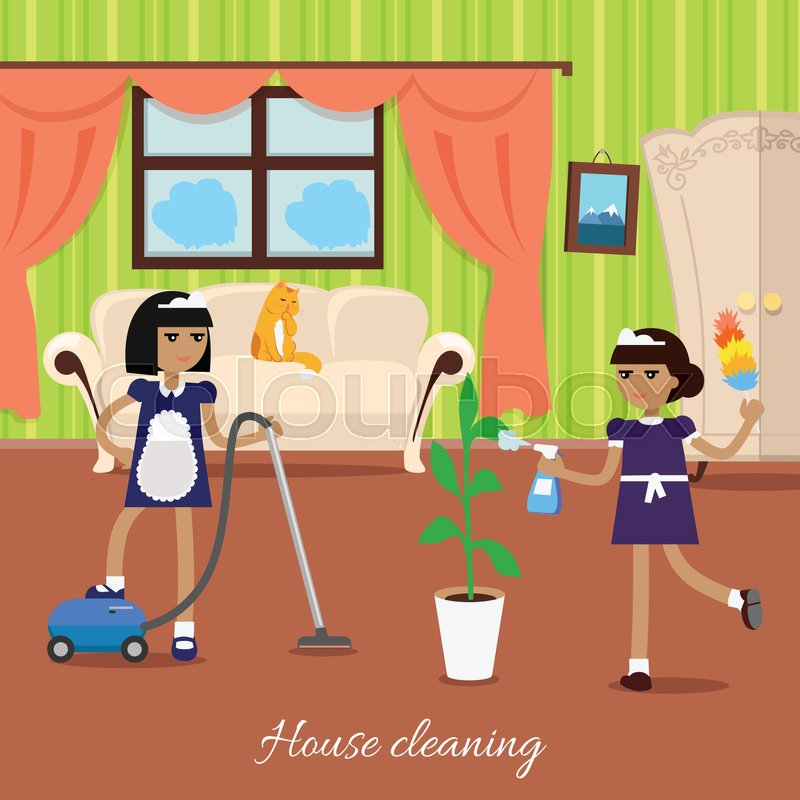 House Cleaning Two Girls In Blue Stock Vector Colourbox
