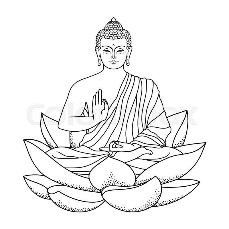 Sitting Outline Buddha On Lotus Stock Vector Colourbox
