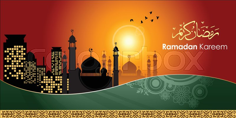 Ramadan greetings in arabic script an islamic greeting card for ramadan greetings in arabic script an islamic greeting card for holy month of ramadan kareem illustration eps 10 vector m4hsunfo