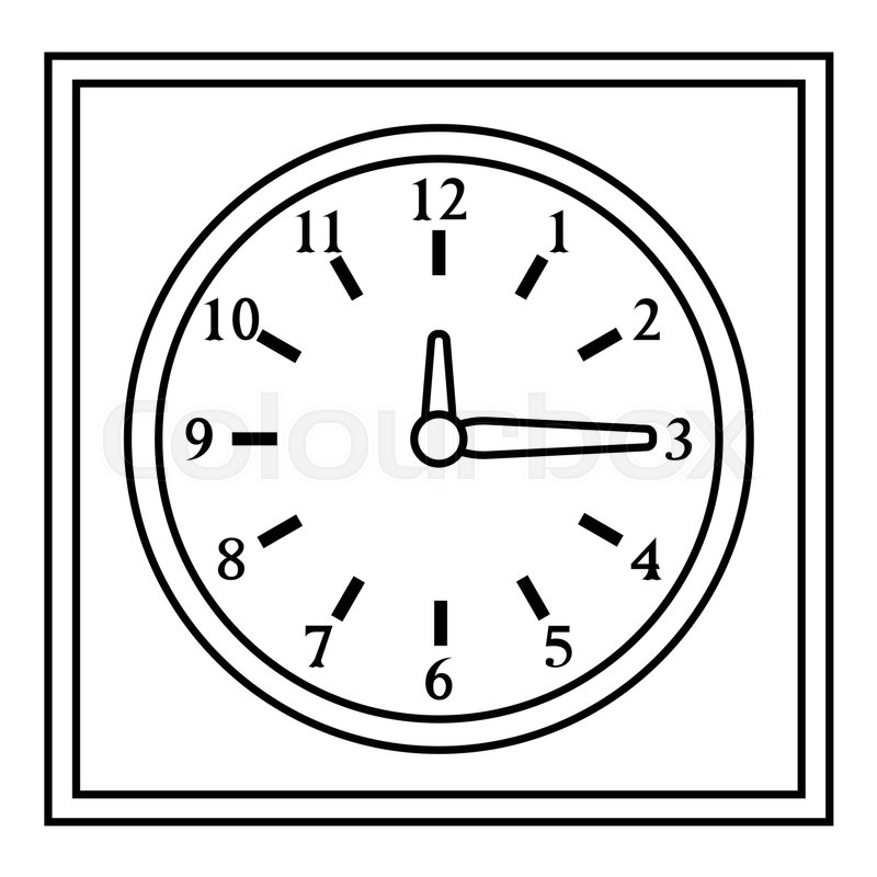 Square Wall Clock Icon Outline Stock Vector Colourbox
