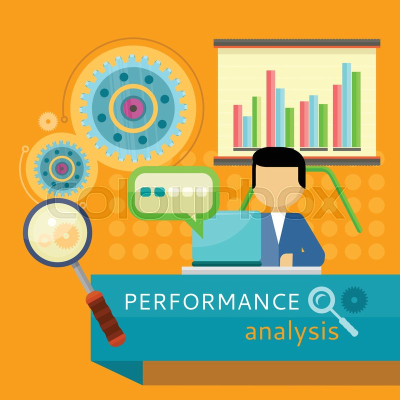 Performance Analysis Banner Person Working At Laptop Making