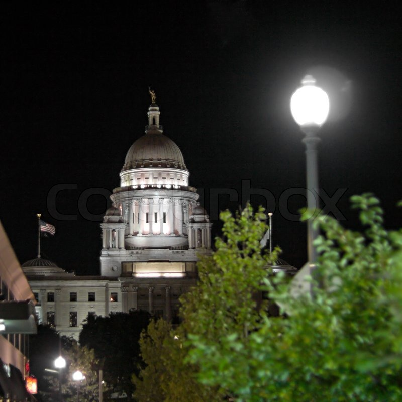 A night time view of the capital building in Providence Rhode Island, stock photo