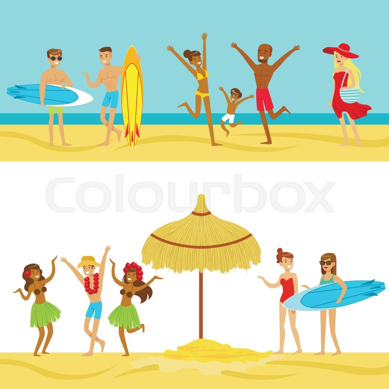 Happy People On Tropical Beach Vacation In Hawaii Surfing And Staying Next To The Sea Smiling Cartoon Characters Having Holidays Warm Country