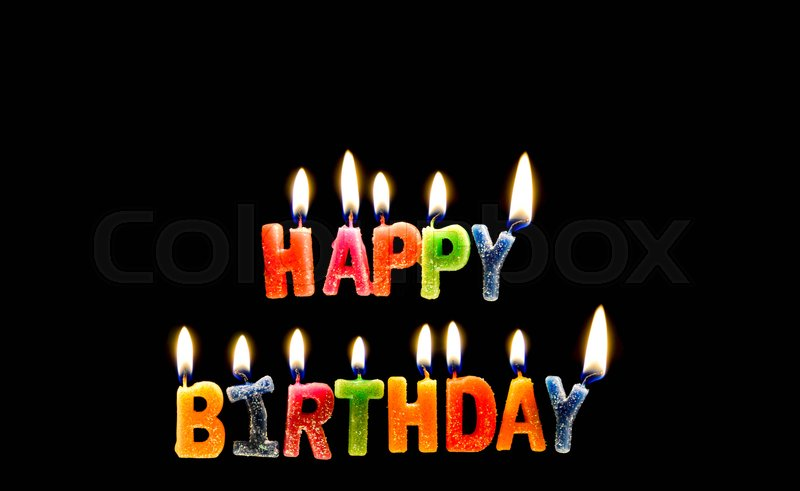 Colorful of happy birthday candle with flame lighting on the black screen stock photo  sc 1 st  Colourbox & Colorful of happy birthday candle with flame lighting on the black ...