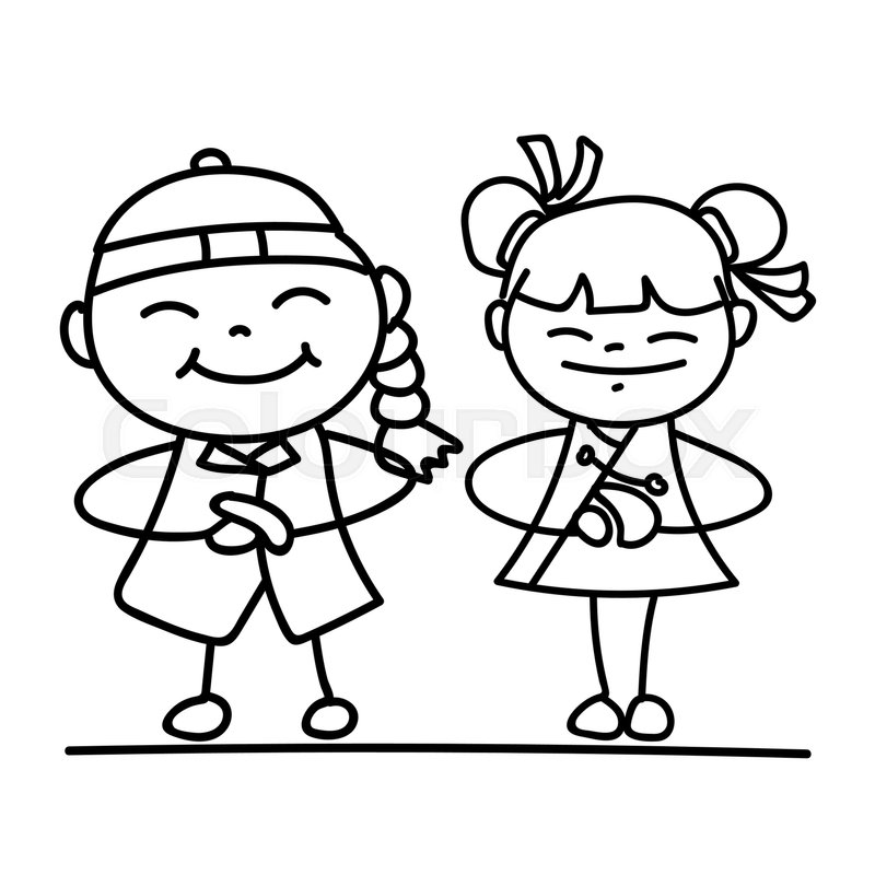 Line Drawing Year : Set of hand drawing cartoon character chinese people and