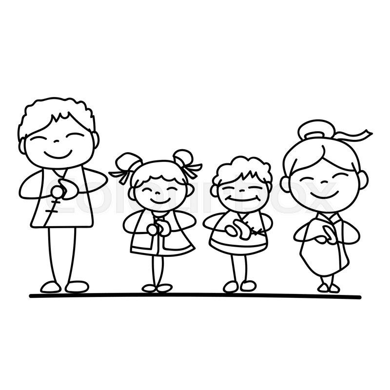 Set of hand drawing cartoon character ... | Stock vector ...