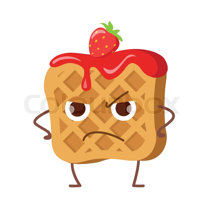Upset waffle with jam and strawberry isolated. Funny sweet ... Cartoon Waffle With Face