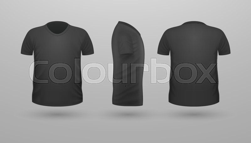 T Shirt Template Set Front Side Back View Black Color Realistic