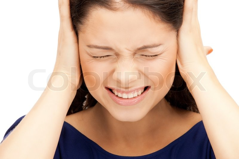 Stock image of 'Picture of woman with hands on ears'