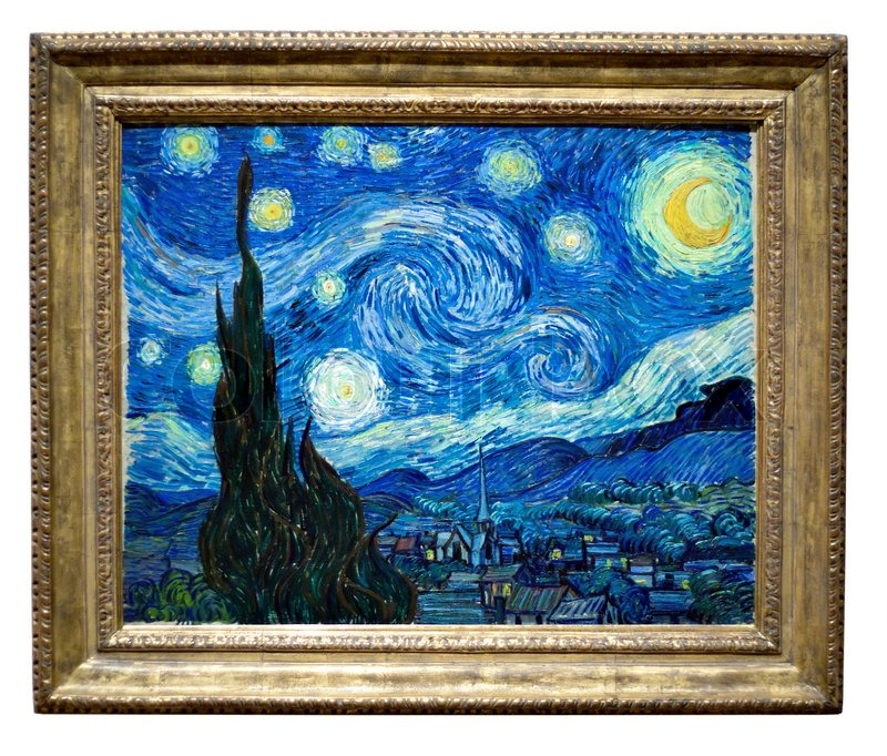 Photo of the famous original starry night painting by for La notte stellata