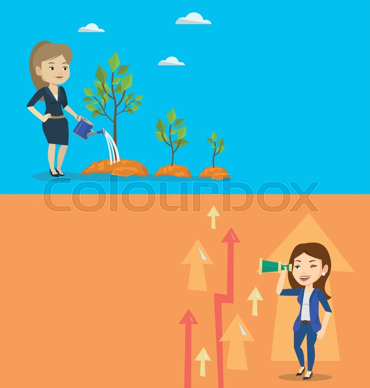 Two Business Banners With Space For Text Vector Flat Design Horizontal Layout Woman Watering Trees Of Three Sizes Woman Watering Plants With Watering Can Business Growth And Investment Concept Vector Stock