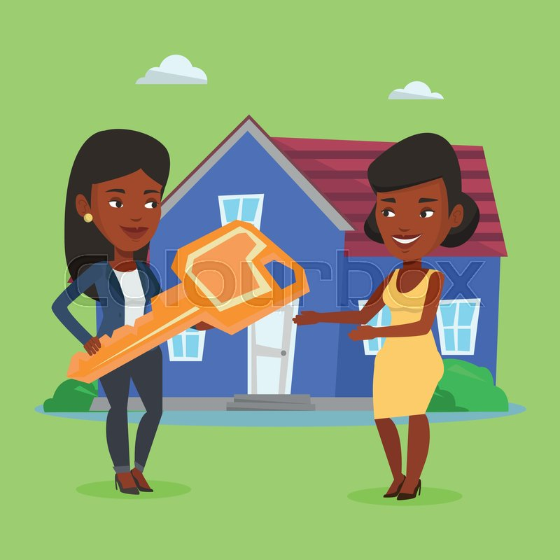 Real Estate Agent Giving Key To A New Owner Of House