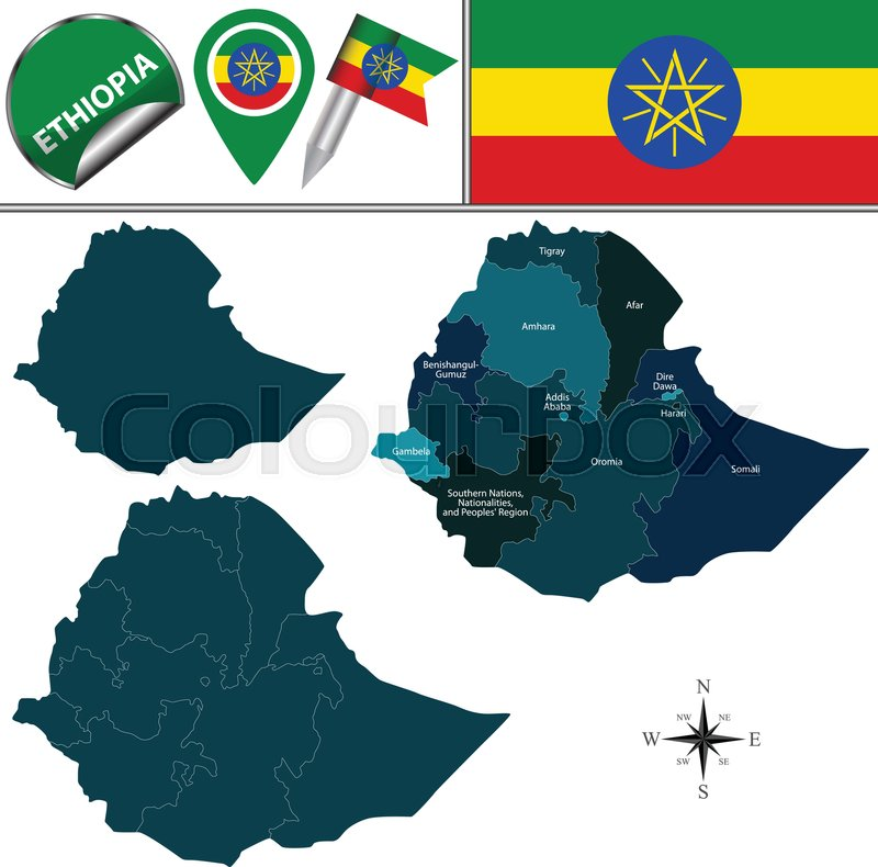 Vector map of Ethiopia with named     | Stock vector | Colourbox
