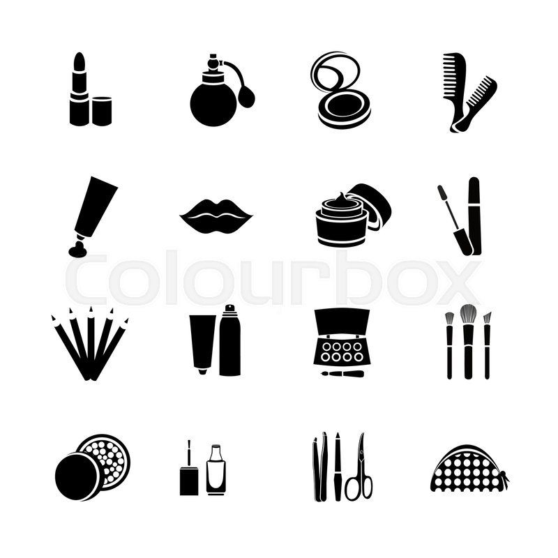 cosmetics vector set flat web icons black and white icons