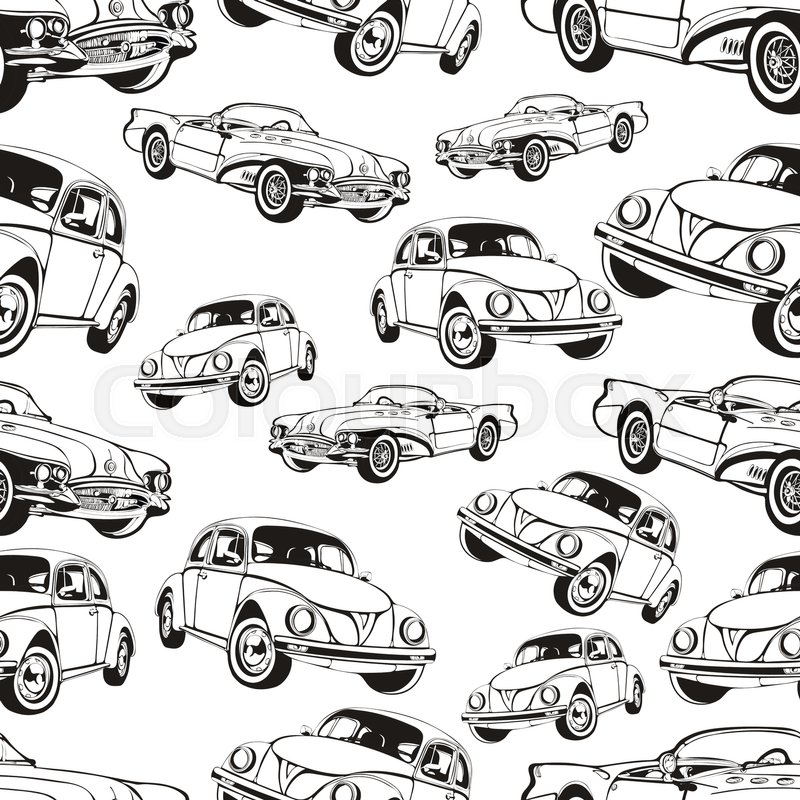 vintage car seamless pattern black and white retro cartoon