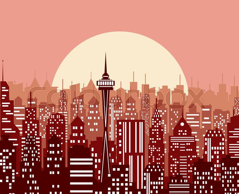 evening cityscape vector illustration in a flat design city landscape at twilight sunset background city skyline at sunset stock vector colourbox
