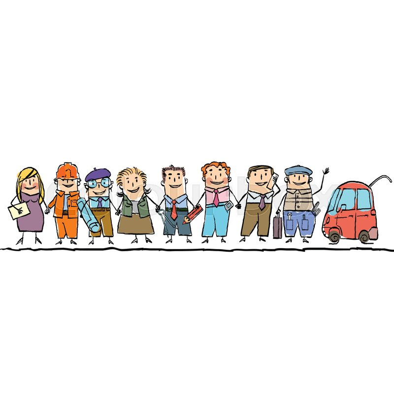 Set workers of different professions. Cartoon hand drawing illustration, vector