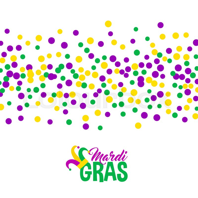 Bright abstract dot mardi gras pattern on white background. Vector ...