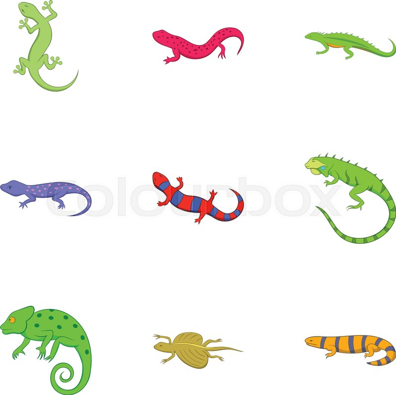 c23d7b276b404 Different kind of lizards icons set. ...   Stock vector   Colourbox