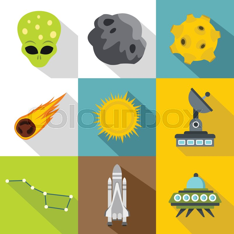 Cosmos icons set. Flat illustration of 9 cosmos vector icons for web, vector