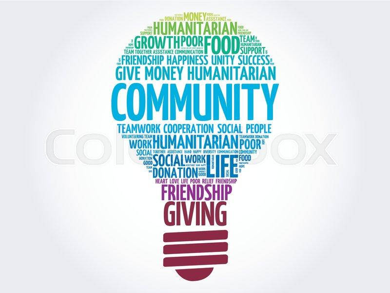 Community bulb word cloud collage concept