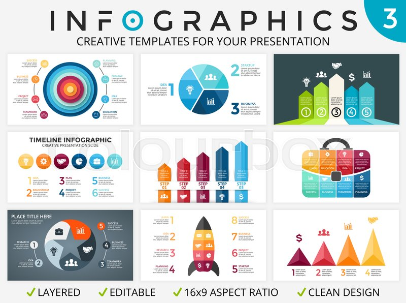 vector circle arrows infographic set, cycle diagrams, start up, Powerpoint templates