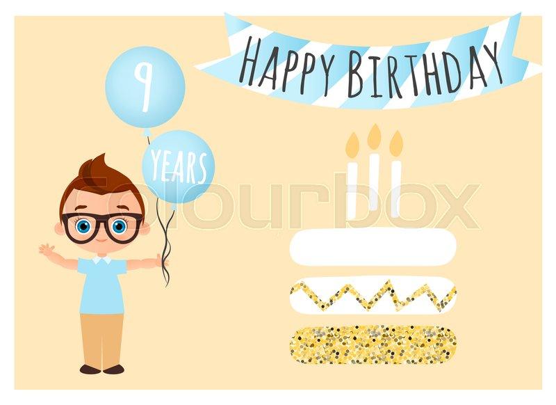 Happy Birthday Postcard With Cake Stock Vector