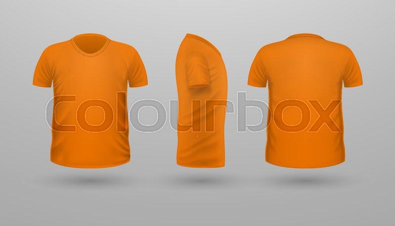T-shirt template set, front, side, back view. Orange color ...