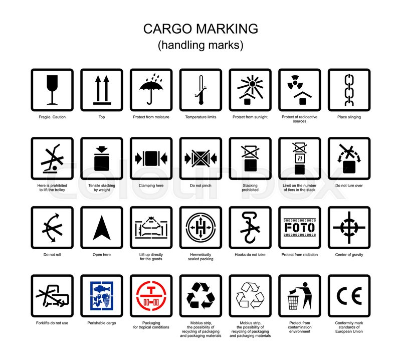 International Symbols For Marking Of Packing Cargo In Vector Stock
