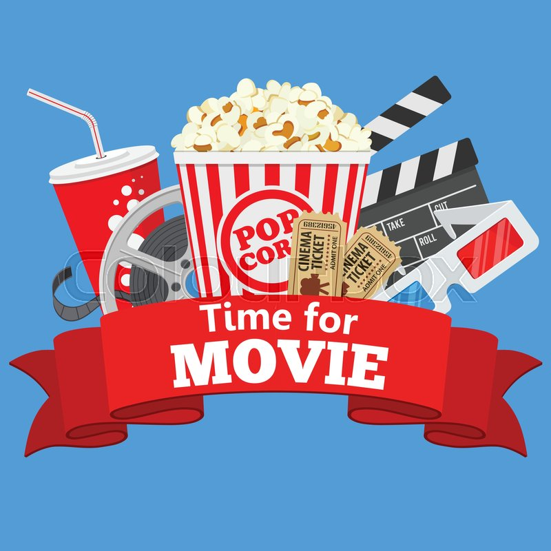Movie Night Bouquet With Drinks: Cinema And Movie Time Flat Icons With ...