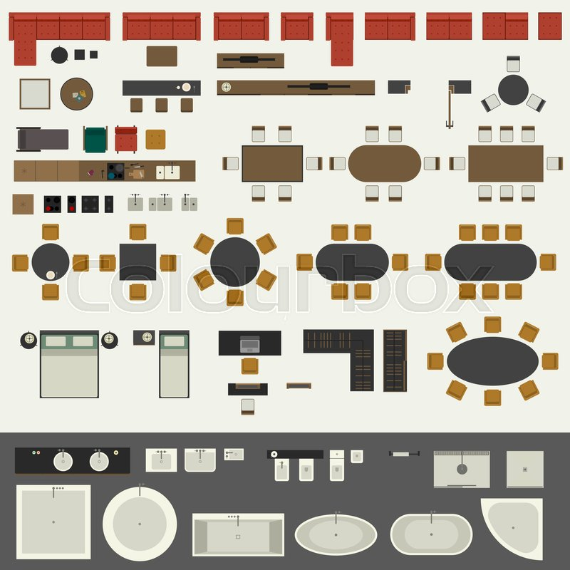 Icons Set Of Interior Elements Top Stock Vector Colourbox