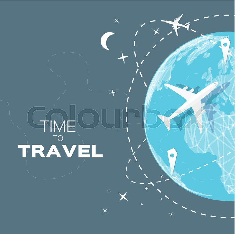 Travel world map background with top view airplane vector travel world map background with top view airplane vector illustration design stock vector colourbox gumiabroncs Choice Image