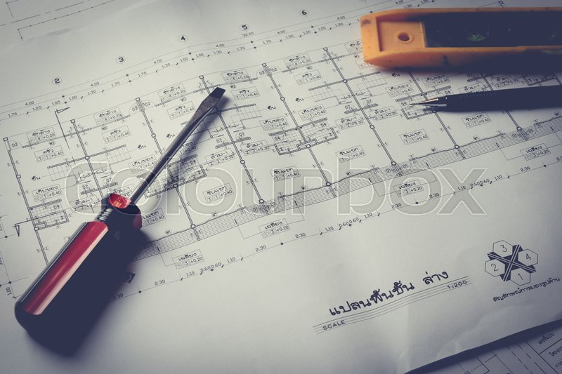 Engineering diagram blueprint paper drafting project sketch engineering diagram blueprint paper drafting project sketch architecturalselective focusvintage filter stock photo colourbox malvernweather Image collections