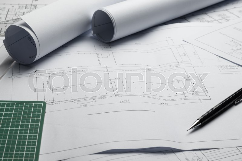 Engineering diagram blueprint paper drafting project sketch engineering diagram blueprint paper drafting project sketch architecturalselective focus stock photo colourbox malvernweather Image collections