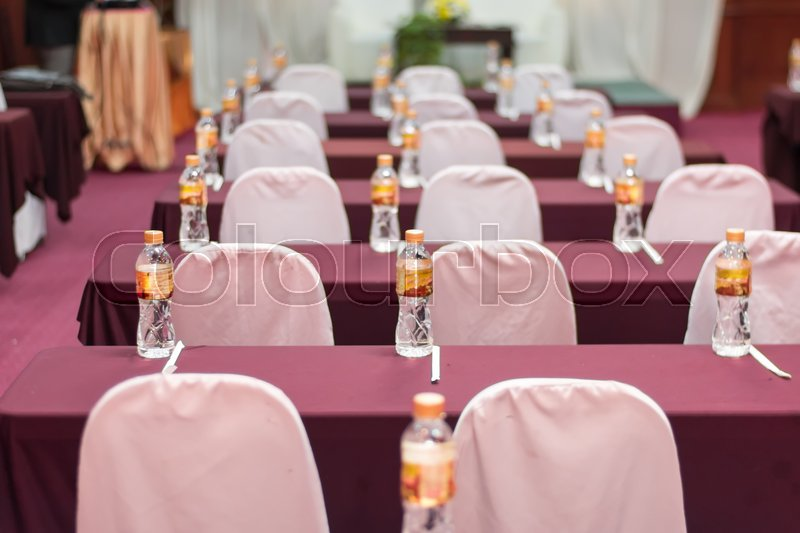 Empty business seminar hall of hotel room for asia people listen presentation,selective focus, stock photo
