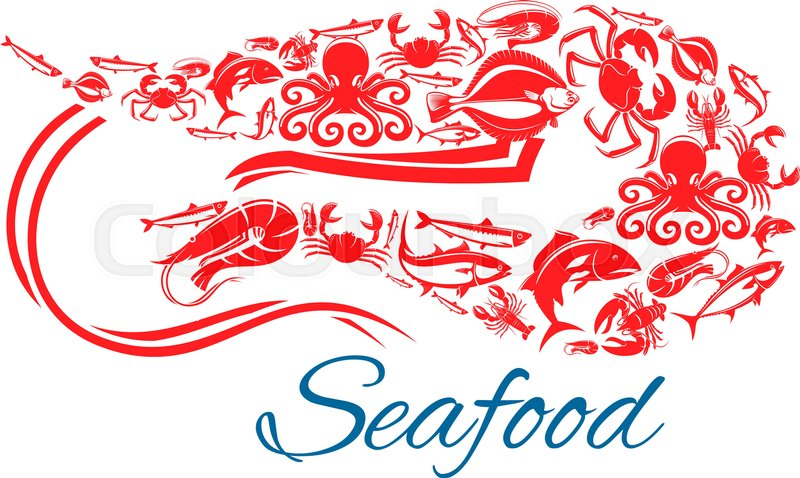 Shrimp Seafood Poster Vector Symbol Of Sea And Ocean Fish Food Crab