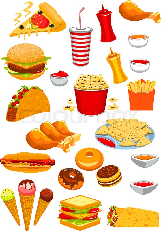 fast food vector isolated icons of hamburger or