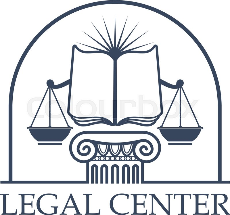 Juridical Legal Center Emblem Vector Icon With Scales Of Justice