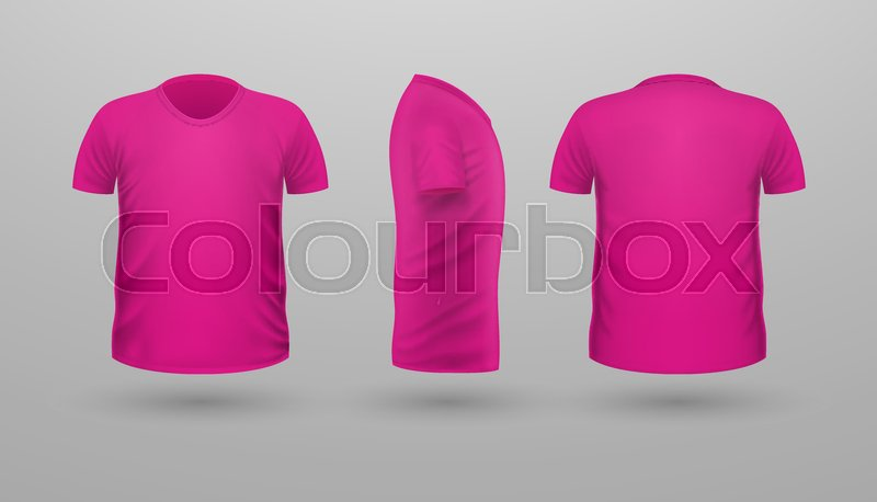 T shirt template set front side back view pink color for Pink t shirt template
