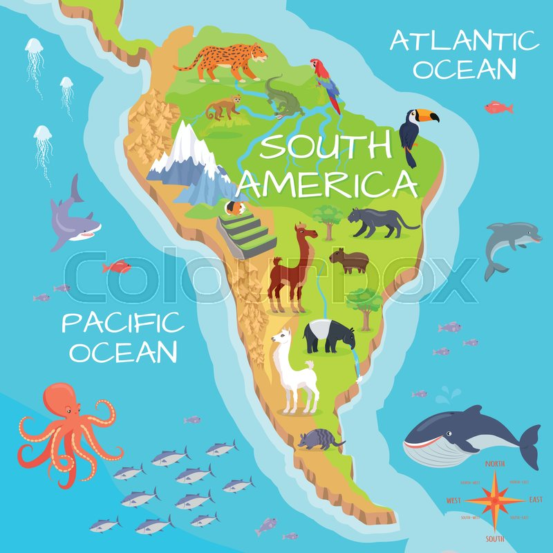 South America mainland cartoon map with fauna species. Cute american ...