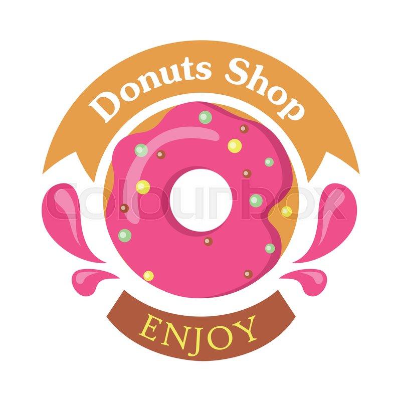 of donut logo  Donut shop logo icon enjoy. Tasty glazing. Sweet donut design flat ...