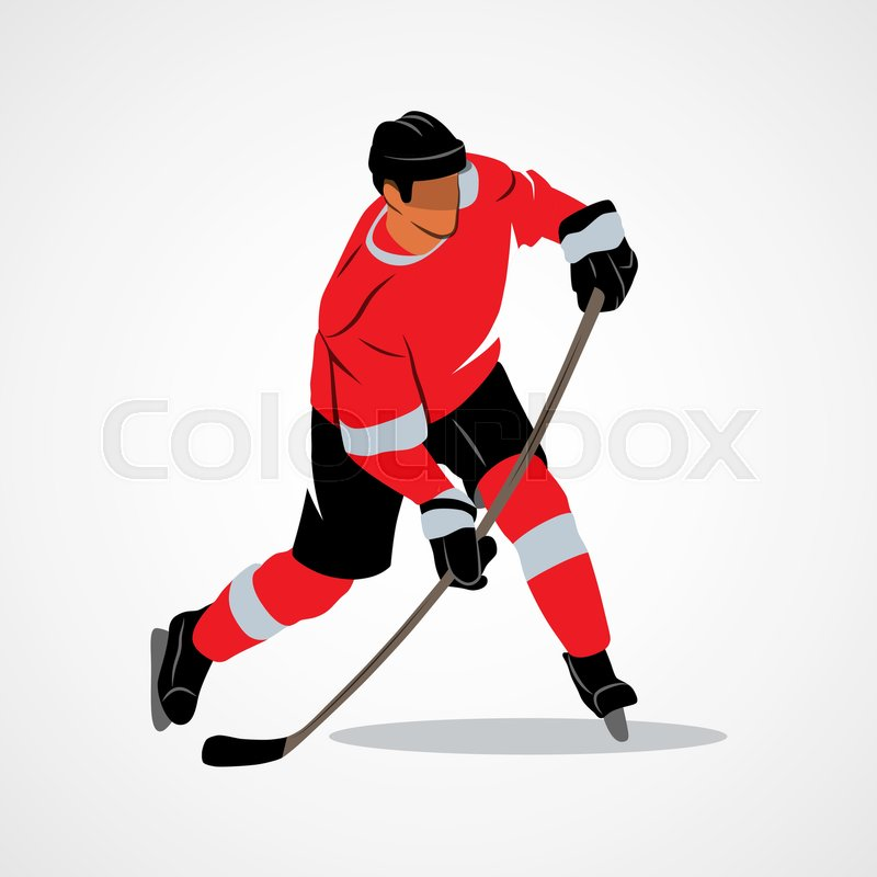 Ice hockey player hits the puck on a white background. Vector illustration, vector