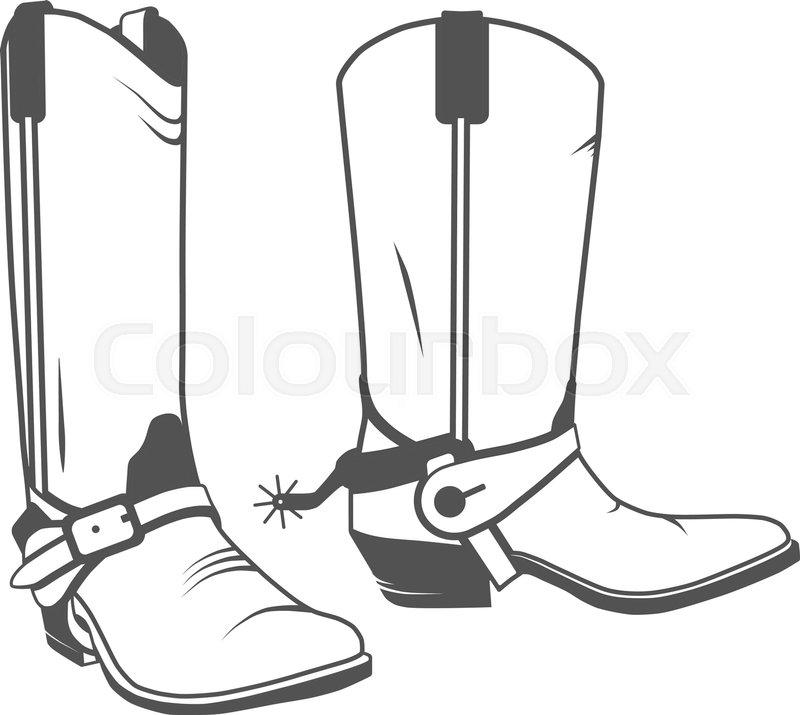 c9d3c512d43 Two Vintage Western Cowboy Boots. ... | Stock vector | Colourbox
