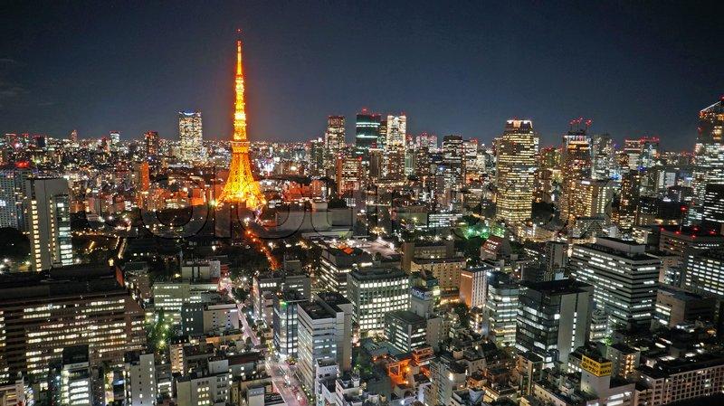 TOKYO - NOVEMBER 9: Night view of Tokyo skyline with Tokyo Tower in Tokyo, Japan. , stock photo
