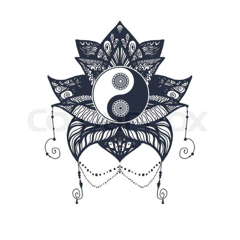 Vintage Yin And Yang In Mandala Lotus Stock Vector Colourbox