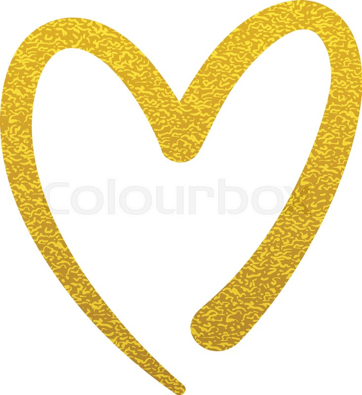 Gold Paint Heart Love Sign Symbol Logo Set Stock Vector Colourbox